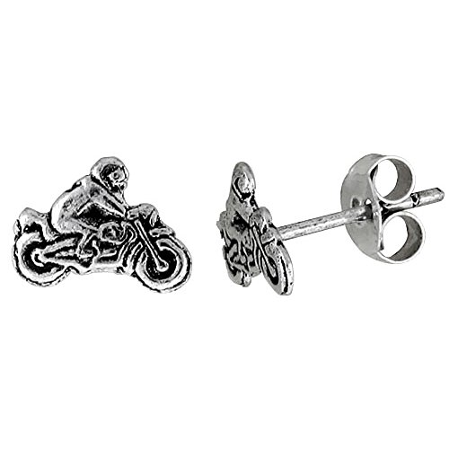 Tiny Sterling Silver MOTORCYCLE Stud Earrings 5/16 inch