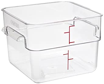 "Cambro 12SFSCW 12 qt Capacity, 11-1/4"" Length x 12-1/4"" Width x 8-1/4"" Height, CamSquare Camwear Clear Polycarbonate Food Storage Container (Cover Sold Separately)"