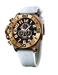 Offshore Men's OFF009F Tornade Brown and Yellow Gold PVD Rubber Chronograph Watch