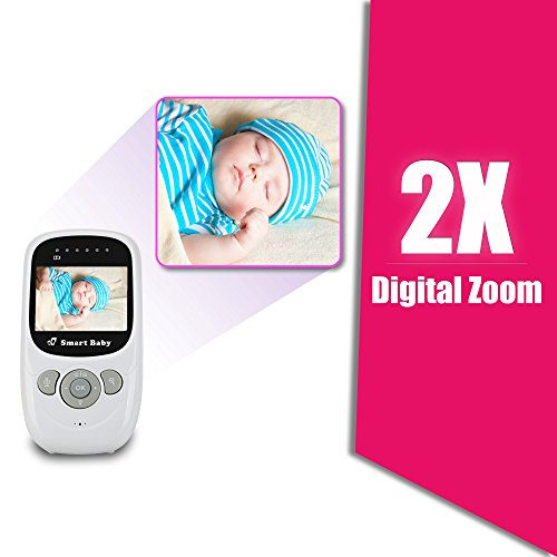 """Video Baby Monitor by Smart Baby - Wireless Baby Monitor with 2.4"""" Color Screen and Night Vision Capabilities - Baby Camera Features Built-In Nightlight, Rechargeable Battery and Temperature Detection"""