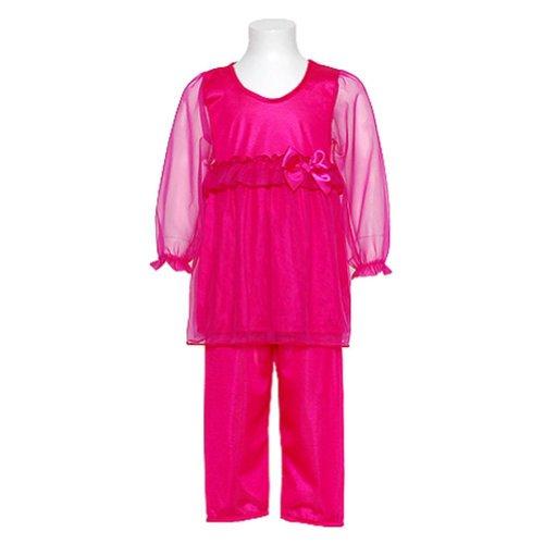 Laura Dare Toddler Girls Size 3T Fuchsia Sheer 2Pc Pajamas Sleepwear front-974535
