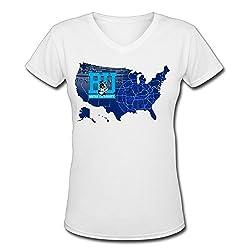 Boston University Logo V Neck T Shirts Shirt Ladies Lady Comfortable
