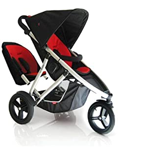 phil teds vibe2redkit vibe 2 buggy double stroller red black baby. Black Bedroom Furniture Sets. Home Design Ideas