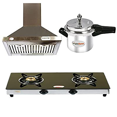 Brightflame 2 Burner Black Gas Stove & Aluminium Pressure Cooker 3 Ltr + Kitchen Chimney Stainless Steel 60 CM