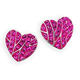 Ashley Arthur .925 Silver & Solid Fuchsia Lined Heart Earrings Made with Swarovski Elements