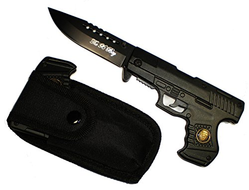 "8"" Black Police Gun Style Pocket Knife With Nylon Belt Case Included"