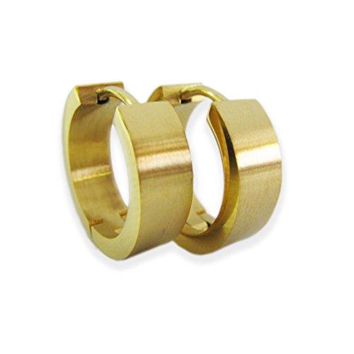 Tolle große goldene Creolen in Geschenkbox Edelstahl Ohrringe Kreolen Klappcreolen Stylebox24