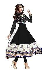 Clickedia Women's Silk & Georgette Dress Material (Wamsi_Black_Free Size)