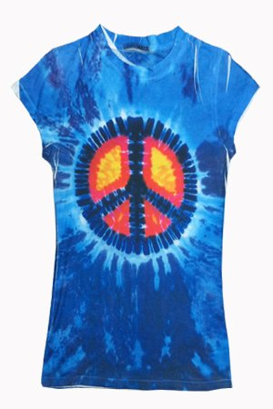 Sublimation BLUE PEACE SIGN Tie Dye Fitted Juniors Girly Retro Groovy Vintage T-Shirt
