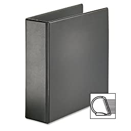 Cardinalamp;reg; - Recycled Leather Grain Vinyl EasyOpen Slant D-Ring Binder, 3amp;quot; Capacity, Black - Sold As 1 Each - EasyOpenamp;reg; locking Slant-Damp;reg; ring mechanism instantly engages when closed, eliminating two-step and two-hand operation.