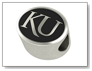University of Kansas Jayhawks Bead Fits Most Pandora Style Bracelets Including Pandora Chamilia Biagi Zable Troll and More. High Quality Bead in Stock for Immediate Shipping
