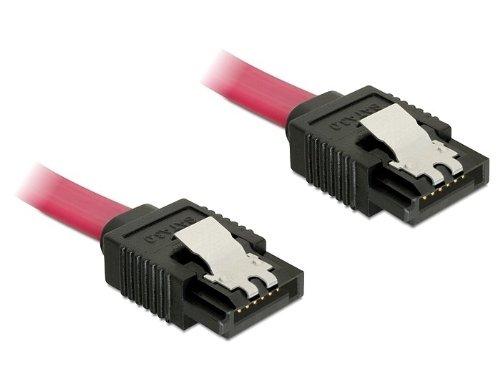 Delock SATA 6 Gb/s Anschlusskabel mit Metallclip, 10cm,