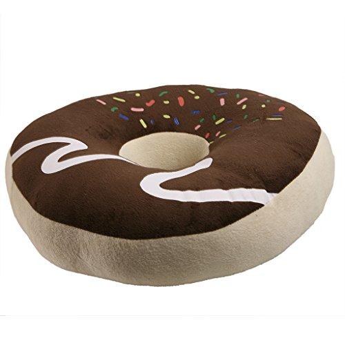 JNTworld Comfort coussin moelleux oreiller Cookie chocolat mignon Donut Siège annulaire peluche,brun