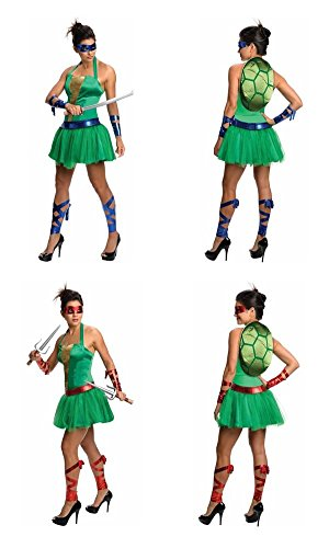TMNT Ninja Turtles 12-Pc Leonardo/Raphael Costume Dress Set Women Size Small 4/6