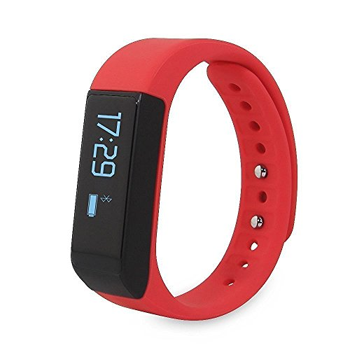 Dragon hub I5 Plus IP65 Water resistance Smart Bracelet fitness tracker sport wrist Bluetooth 4.0 Pedometer Sleep Monitor 0.91'OLED TPU Wristband compatible with Android and IOS Smartphones (red)