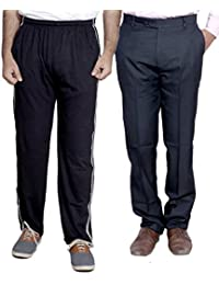 Indistar Mens Formal Trousers With Men's Premium Cotton Lower (Length Size -40) With 1 Zipper Pocket And 1 Open Pocket (Pack Of -1 Lower With 1 Trouser) - B01GEIOQQA
