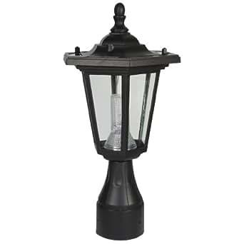 PP10 Solar 'Coach' Post / Pole Top Accent Light (Round Base) - Black