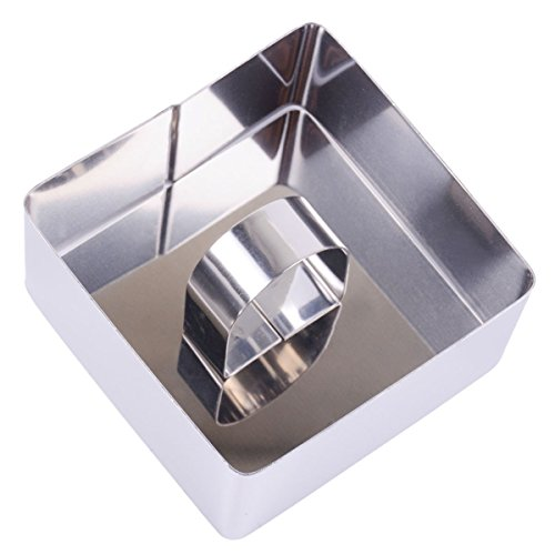 FUBARBAR Mini Cake Cutter Mold - Pastry Ring with Pusher, 3 X 2 Inch Stainless Steel Assorted Shape (Square) (Train Rice Mold compare prices)