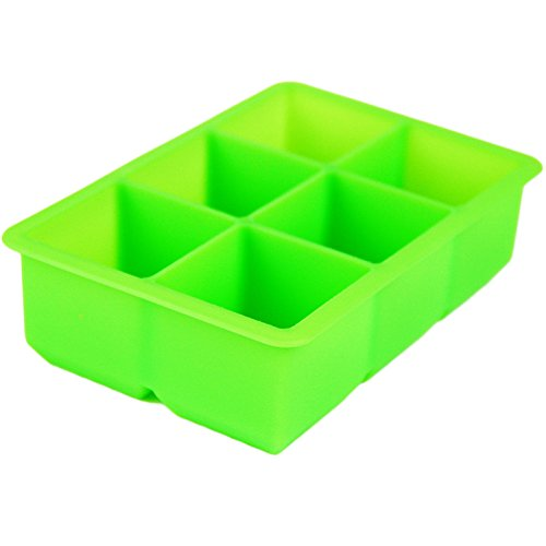 Azsetech Non-Stick Flexible 6 Cup Jumbo King Cube Silicone Ice Tray-Blue,Pink,Red,White (Green)