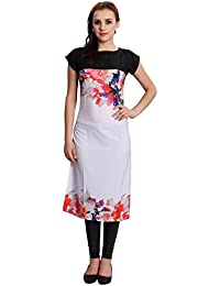 M.Tex Kurti For Women White And Pink Color Cap Sleeves Boat Neck Crepe Kurta (Pack Of 1)