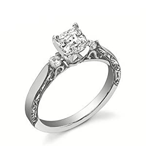 0.75 Carat  Princess Antique Style Diamond Engagement Ring Bridal Set Wedding Ring on 18K White  Gold