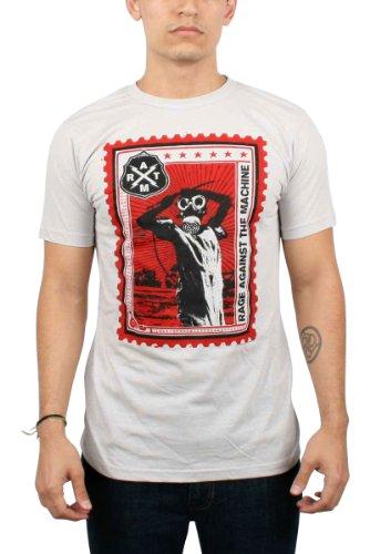 Rage Against The Machine-Maglietta da uomo a forma di francobollo, colore: argento argento argento