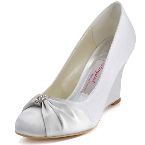 ElegantPark EP2005 Women's Pumps Round Toe Wedge Heel Rhinestones Satin Wedding Bridal Shoes White US 7
