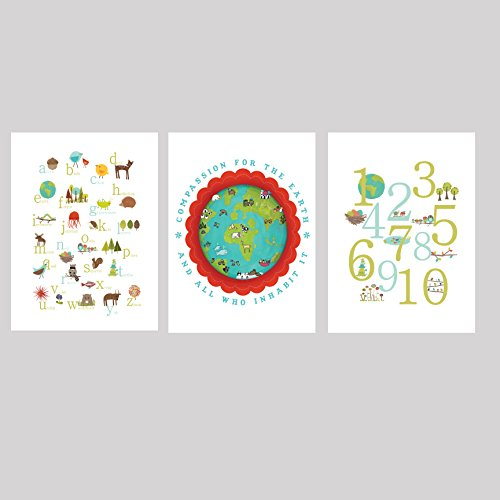 Our Earth Collection Children's Wall Art Prints 11x14, Kid's Wall Art, Kid's Room Decor, Nursery Decor, Nature Themed Alphabet Print, ABC, Number Print, Counting, Compassion, Gender Neutral, Children's Room Decor, Family Room, Artwork for Kids, Baby Room Decor, Playroom Decor, Eco Friendly Decor, Baby Shower, Children Inspire Design