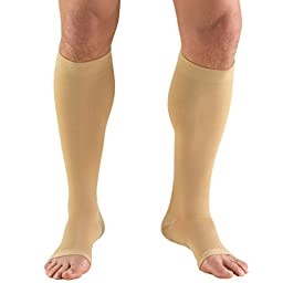 Truform 0845, Compression Stockings, Below Knee, Open Toe, 30-40 mmhg, Beige, X-Large