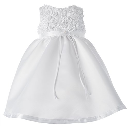 Lauren Madison Baby-Girls Christening Baptism Special Occasion Sleeveless Satin Dress with Floral Bodice, White, 6-9 Months