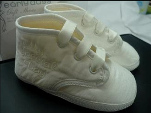 Boys Ivory & White Christening Booties/Shoes 0-24 mth