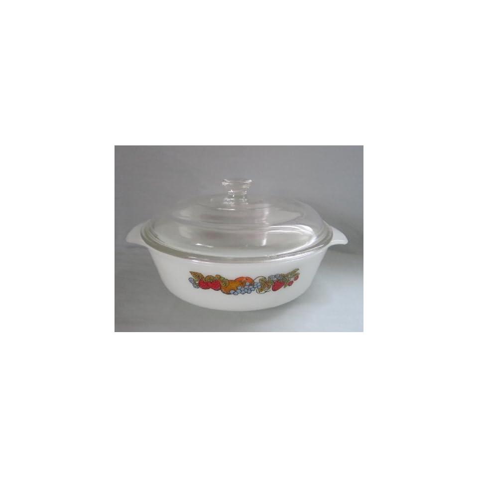 Vintage 1970s Fire King Anchor Hocking Milk Glass  Natures Bounty  1 1/2 Quart Baking Casserole Dish w/ Lid