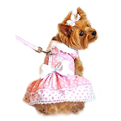 "Doggie Design Pink Polka Dot Party Harness Dress with matching Leash for small dogs in Size Medium (Chest 16""-19"", Neck 13""-16"", pets weighing 11-15 Lbs.)"