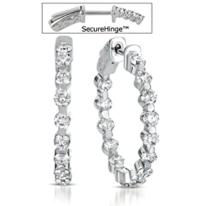 14k White Gold 2.30 Dwt Diamond 1 Securehinge Hoop Earrings - JewelryWeb