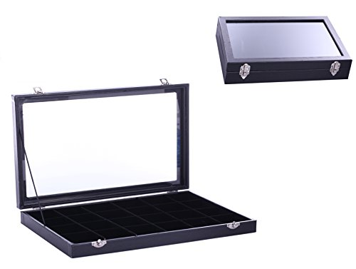 Vieworld Glass Top Lid Black Velvet Jewelry Display Case/Organizer, 24 Compartment (Display Case With Lid compare prices)
