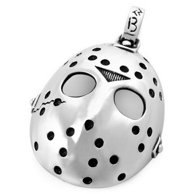 Mens Silver Stainless Steel Halloween Jason Mask Pendant Necklace