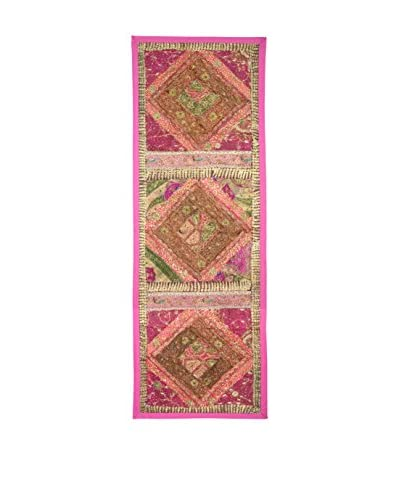 Uptown Down One-of-a-Kind Floor Runner of Vintage Tribal Collars, Pink/Green/Orange