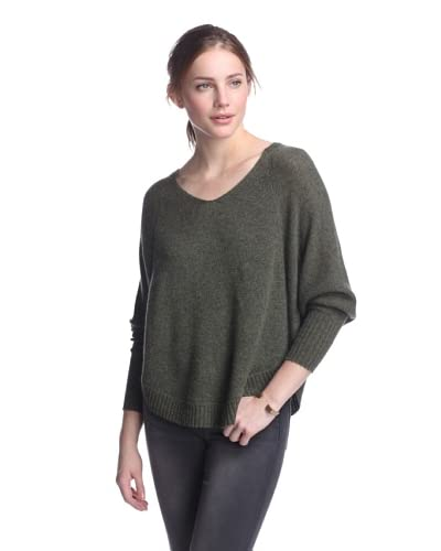 Qi Women's Helena Dolman Cashmere Sweater  [Army Heather]
