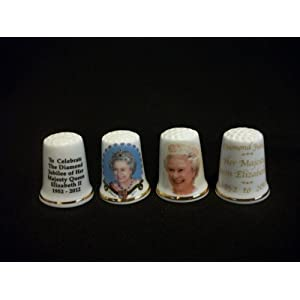 H M Queen Elizabeth II Diamond Jubilee China Thimble Set 1952-2012
