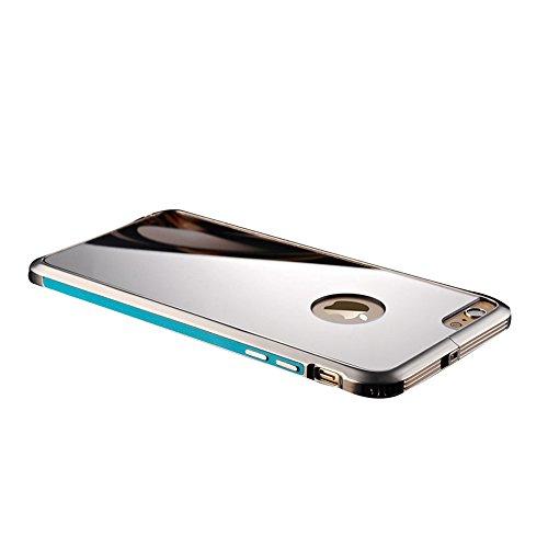 全8色 iphone6sバンパー アルミ 背面 軽量 ポップエナジー(Pop Energy)アイフォン6s plus ケース 金属 フレーム 二重構造 アルミバンパー+鏡面ミラーキラキラ光るバックプレート付き アルミ製メタルバンパー (IPhone6/6s, ブルー)