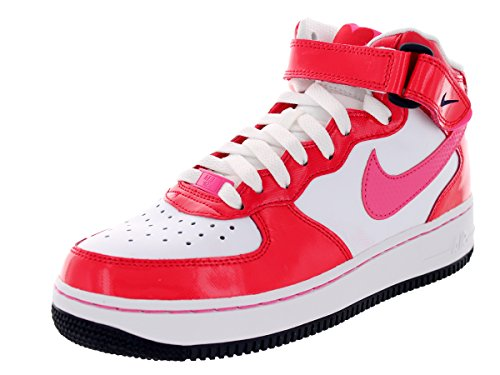 Nike Kids Air Force 1 Mid (GS) White/Dynmc Pnk/Hypr Rd/Drk Ob Basketball Shoe 7 Kids US (High Top White Air Force 1 compare prices)