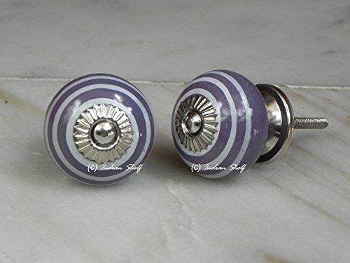 Set of 12 Pieces Silver Round Striped Purple Ceramic Cabinet Knobs Furniture Handle Drawer Pull Designer Vintage Handmade (Striped Dresser Knobs compare prices)