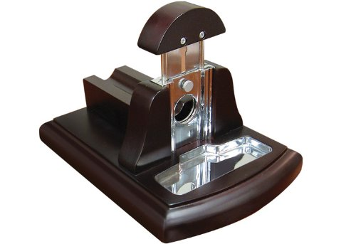 Prestige Import Group Walnut Desktop Guillotine Cutter w/ Tobacco Catch Tray (Desk Cigar Cutter compare prices)
