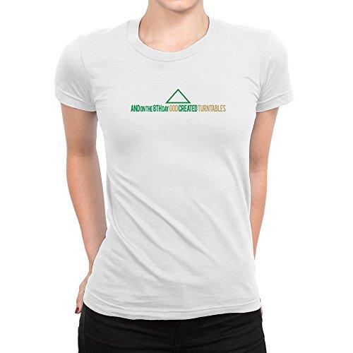 Idakoos-GOD-CREATED-Turntables-Instruments-Women-T-Shirt