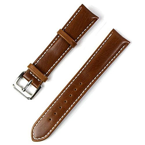 WEIYISS 18mm Handmade Vintage Replacement Genuine Leather Silver Buckle White Stitch Watch Strap/Watch Band (Oil Wax Leather/Brown)