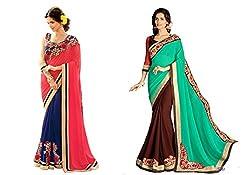Pragya creations Women's Chiffon Saree (Prag24_Multi)-pack of 2