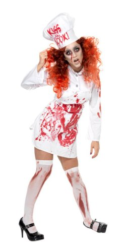 Smiffy's Women's Hell's Kitchen Bloody Chef Costume with Dress Apron and Hat