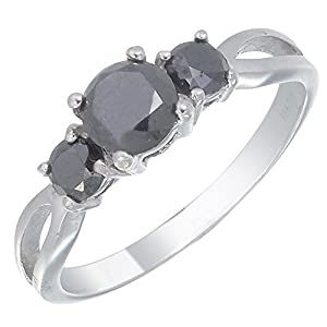 Vir Jewels Sterling Silver 3 Stone Black Diamond Engagement Ring (1 CT) Size 8