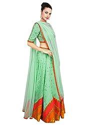 Rozdeal Designer Light Green Color leriya Style Navratri Collection Lehnega Choli