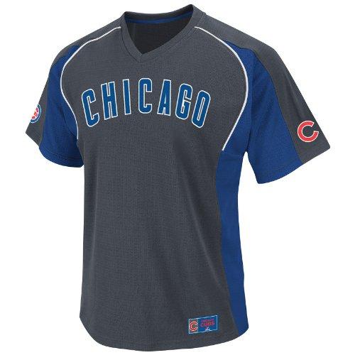 MLB Chicago Cubs Cleanup Hitter V-Neck Top, Granite/Royal/White, X-Large